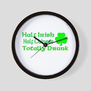Half Irish Half Chinese Total Wall Clock
