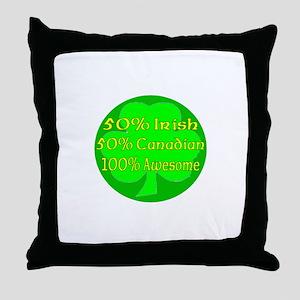 50% Irish 50% Canadaian 100% Throw Pillow