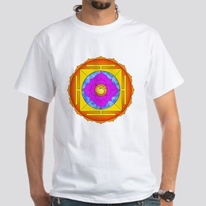 Om Lotus Yantra White T-Shirt