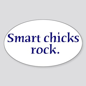 White Smart Chicks Rock Oval Sticker