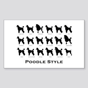 Poodle Styles: Black Rectangle Sticker