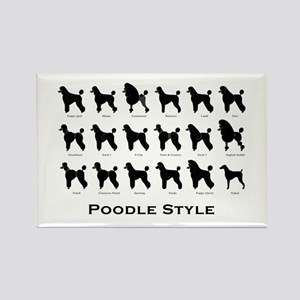 Poodle Styles: Black Rectangle Magnet