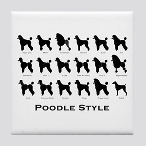 Poodle Styles: Black Tile Coaster