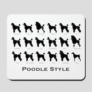 Poodle Styles: Black Mousepad