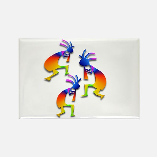 Three Kokopelli #58 Rectangle Magnet