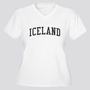 Iceland Black Women's Plus Size V-Neck T-Shirt