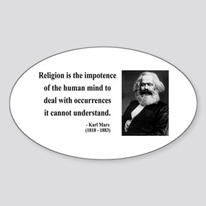 Karl Marx 2 Oval Sticker