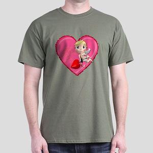 Pink Valentine Heart Dark T-Shirt