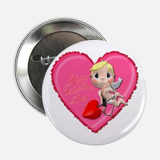 """Pink Valentine Heart 2.25"""" Button"""