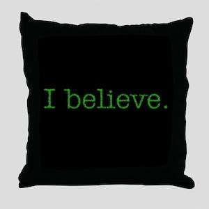 """I Believe"" Alien Throw Pillow"