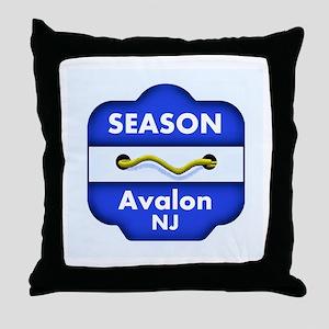 Avalon Season Beach Badge Throw Pillow