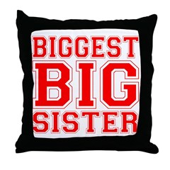 Biggest Big Sister Varsity Throw Pillow