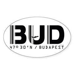 Budapest Airport Code BUD Hungary Oval Decal