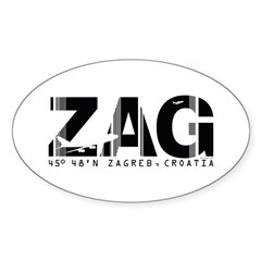 Zagreb Airport Code Croatia ZAG Oval Decal