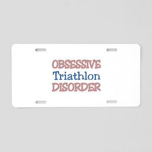 Obsessive Triathlon Disorde Aluminum License Plate