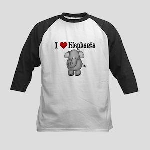 I love Elephants Kids Baseball Jersey