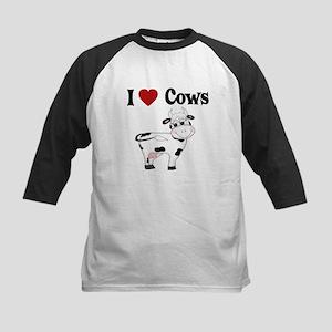 I Love Cows Kids Baseball Jersey