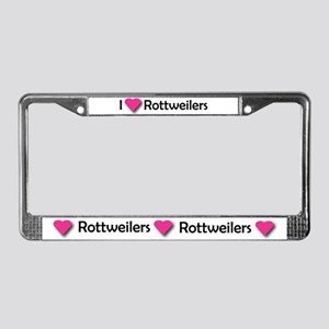 I LUV ROTTWEILERS License Plate Frame