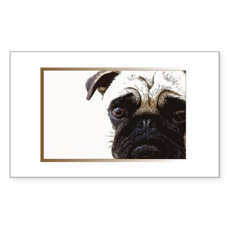 What a Pug Face Rectangle Sticker