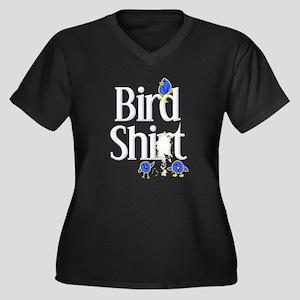 Bird Shit Shirt Women's Plus Size V-Neck Dark T-Sh