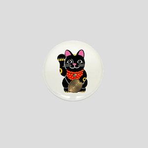 Black Maneki Neko Mini Button