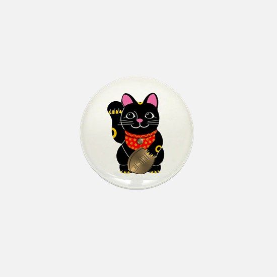 Black Maneki Neko Mini Button