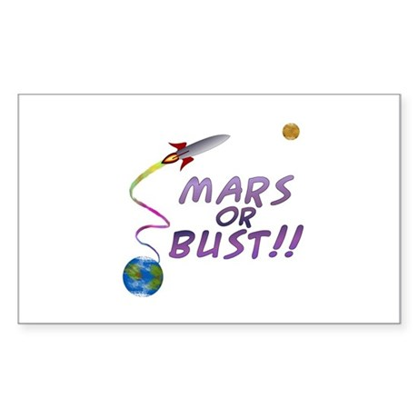 Mars or Bust! Rectangle Sticker