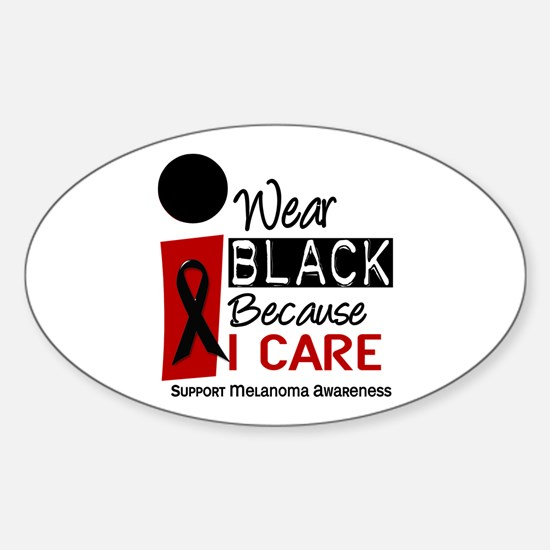 I Wear Black Because I Care 9 Oval Decal