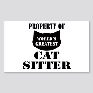 Prop. of Cat Sitter Rectangle Sticker