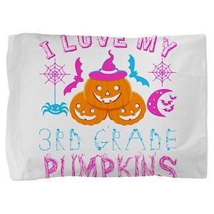I Love My 3rd Grade Pumpkins Halloween Pillow Sham