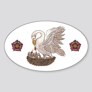 Royal Pelican Rose Sticker (Oval)
