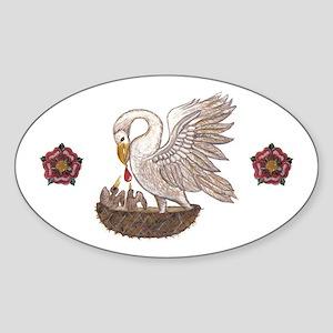 Royal Pelican Rose Sticker (Oval)