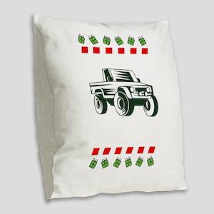 Offroad Monster Truck Christma Burlap Throw Pillow