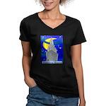 Starry Night New York Women's V-Neck Dark T-Shirt