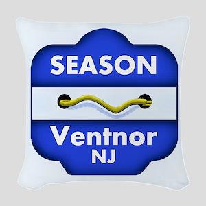 Ventnor NJ Season Badge Woven Throw Pillow