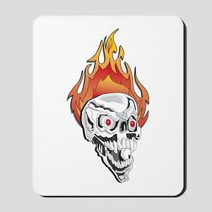 White Flaming Skull Mousepad