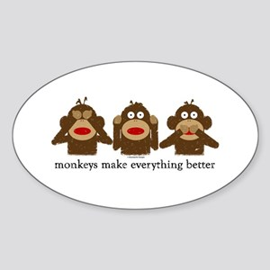 3 Wise Sock Monkeys Oval Sticker
