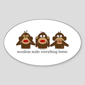 3 Wise Sock Monkeys Oval Sticker