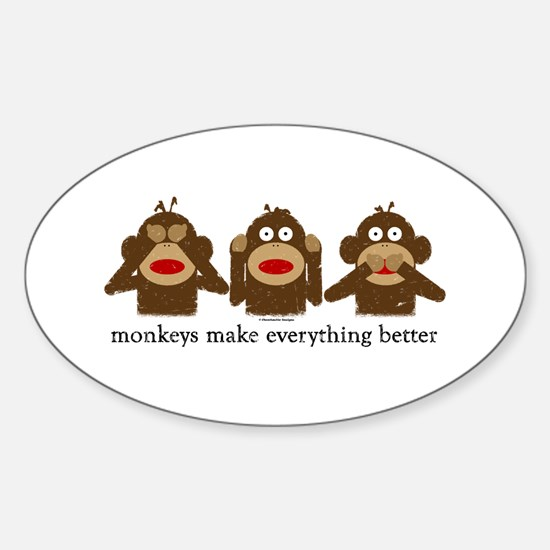 3 Wise Sock Monkeys Oval Decal