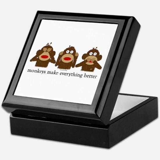3 Wise Sock Monkeys Keepsake Box