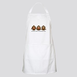 3 Wise Sock Monkeys BBQ Apron