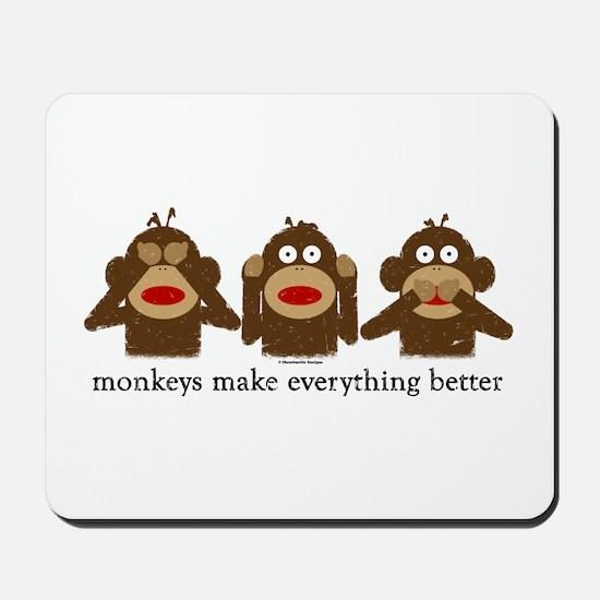 3 Wise Sock Monkeys Mousepad