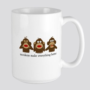 3 Wise Sock Monkeys Large Mug