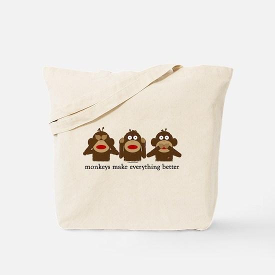3 Wise Sock Monkeys Tote Bag