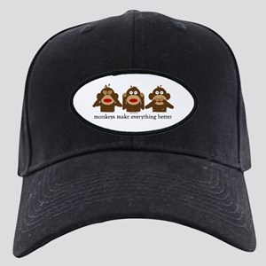 3 Wise Sock Monkeys Black Cap
