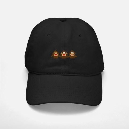 3 Wise Sock Monkeys Baseball Hat