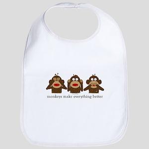 3 Wise Sock Monkeys Bib