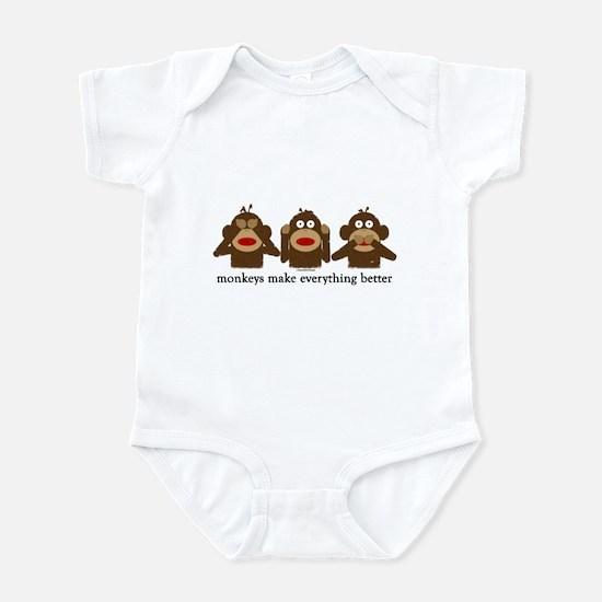 3 Wise Sock Monkeys Infant Bodysuit