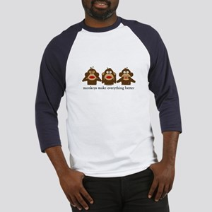 3 Wise Sock Monkeys Baseball Jersey