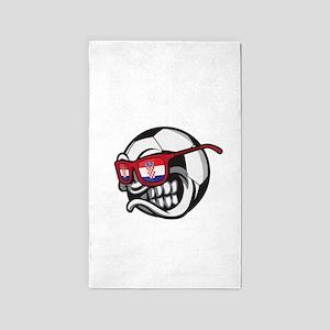 Angry Hrvatska Soccer Ball with Flag of C Area Rug